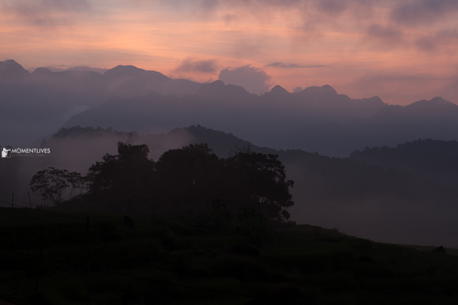 Pu Luong in mist in early morning