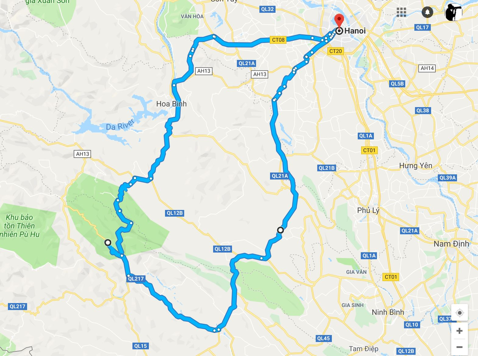 Map of photography tour from Hanoi to Pu Luong